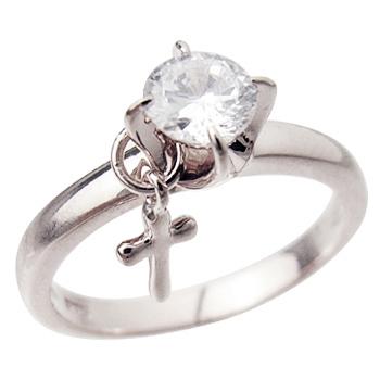 ロジウムcoatリング 指輪 / ミー me / 1粒石&クロス ピンキーリング (ロジウムコーティング) 【 指輪 リング レディース おしゃれ かわいい シルバー925 】