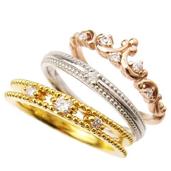 シルバー925 リング 指輪 / ミー me / ティアラ 3連ピンキーリング 【 指輪 リング レディース おしゃれ かわいい シルバー925 敬老の日 】