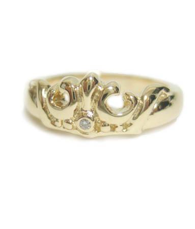 ロイヤルオーダー Royal Order 正規 ゴールド リング ロイヤルオーダー 指輪 送料無料 K9ゴールド/ マリー クラウン バンド w/ダイヤモンド K9ゴールド リング 指輪 プライダルジュエリー メンズ レディース おしゃれ ブランド