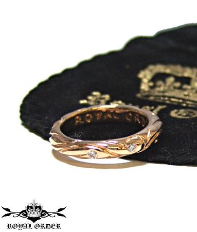 ロイヤルオーダー Royal Order 正規 ゴールド リング ロイヤルオーダー 指輪 送料無料 K9ゴールド/ リボン バンド w/5ダイヤモンド K18ゴールド リング 指輪 リング メンズ リング レディース おしゃれ 18金 敬老の日