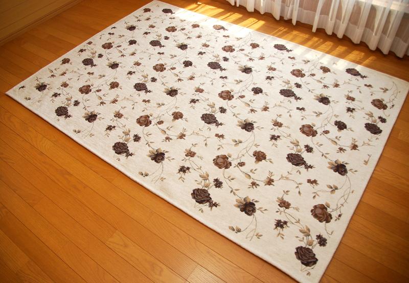 洗える ゴブラン織 シェニールラグ 2畳サイズ 小花 バラ柄 ボタニカル デザイン ラグカーペット 約200×200
