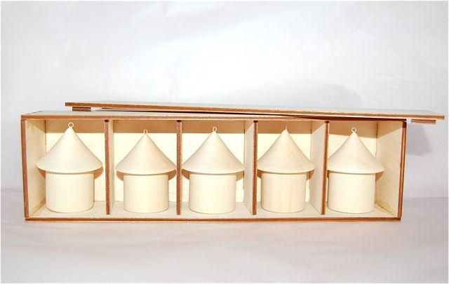 白木 人形 トールペイント 絵付け 正規品 超特価 手作り キット ケース付き 白木のオーナメント お家型5点セット マトリョーシカ
