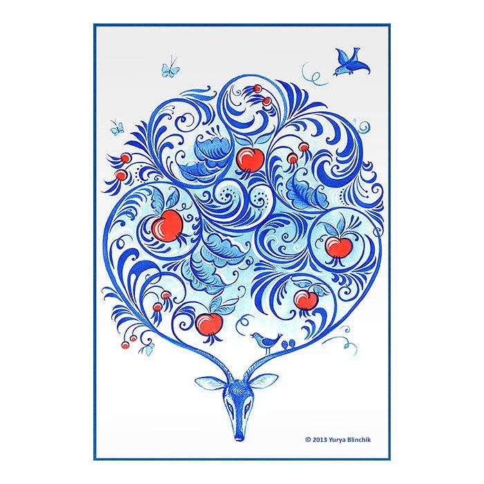 ロシアの美しき伝統文化と魅力を見事にデザイン Yurya 新作アイテム毎日更新 Blinchik ●スーパーSALE● セール期間限定 ユリア ブリンチク デザインポストカード デザイングッズシリーズ グジェリ 鹿 ホフロマ柄 モチーフ