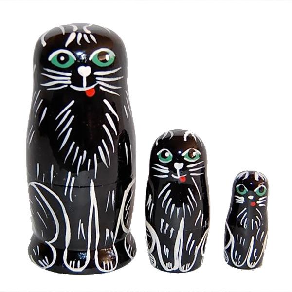 Black White モノトーンmonotone 購入 動物マトリョーシカ黒ネコ Матрешка奇妙な動物たち 激安☆超特価 3個組黒猫のマトリョーシカ