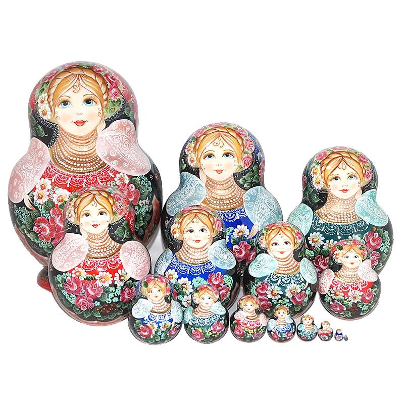 ロシア 作家 縁起物 未使用 マトリョーシカ 高級 1点もの マトリョーシカの本場 ロシアの作家エレーナ チトバ作品美しい花々の乙女 24cm バラの香につつまれて 15個組 全品送料無料 高級マトリョーシカ