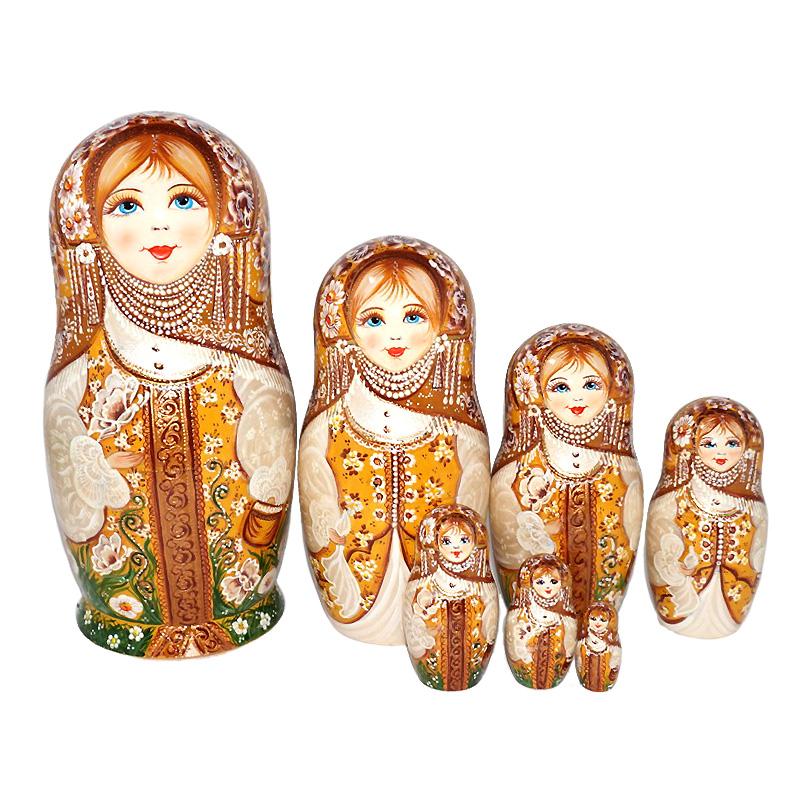ロシア ブランド買うならブランドオフ 作家 縁起物 マトリョーシカ 高級 1点もの 大幅値下げランキング マトリョーシカの本場 高級マトリョーシカ バタフライ チトバ作品 22cm 7個組 華麗なるセピア ロシアの作家エレーナ