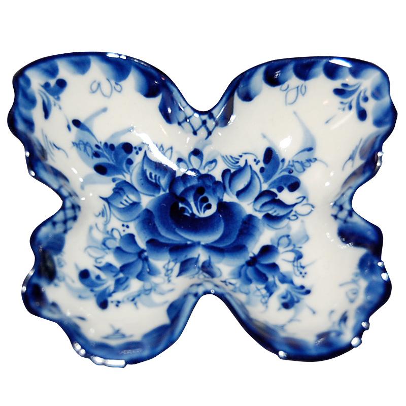 2020秋冬新作 定番から日本未入荷 青く美しい陶器 グジェリ 蝶々のお皿 小