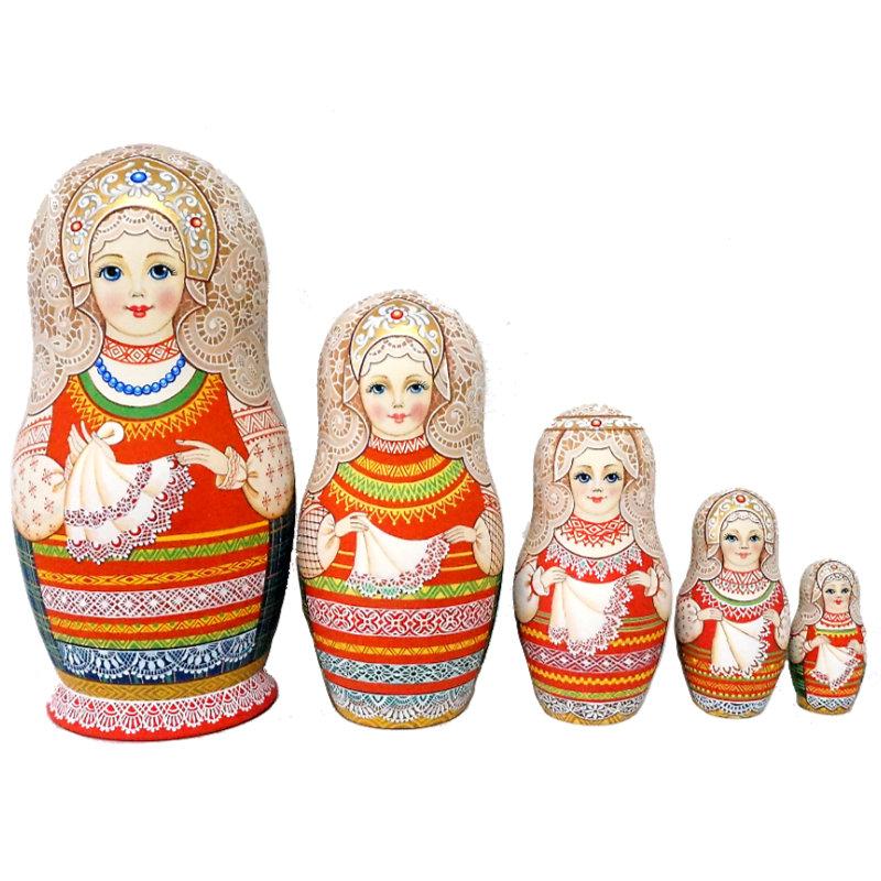 ロシア 超激安特価 作家 縁起物 マトリョーシカ 高級 驚きの値段 1点もの セルゲイ レース 5個組 17cm イコンシリーズロシアの伝統的な生活様式と精密模様 コブロフ工房芸術作品