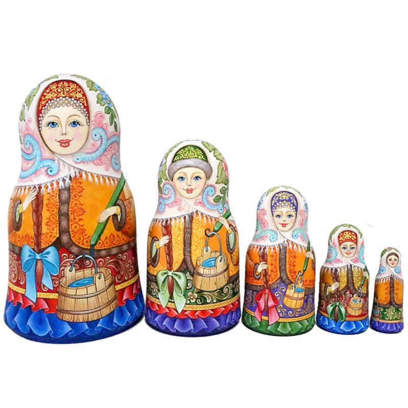 ロシア 作家 縁起物 格安激安 マトリョーシカ 高級 1点もの セルゲイ 18cm イコンシリーズロシアの伝統的な生活様式と精密模様 コブロフ工房芸術作品 今季も再入荷 スタンド型 5個組 水汲みに出かける美少女たち