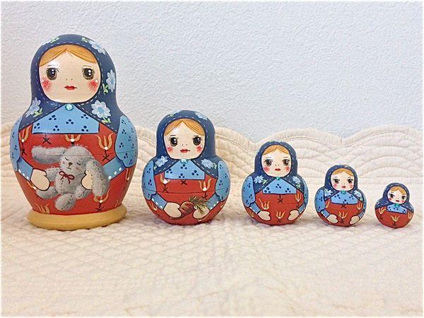 Little Lotte マトリョーシカ「北欧柄ふっくらマト・フラワー」10センチ5個組タイプ【マトリョーシカ】