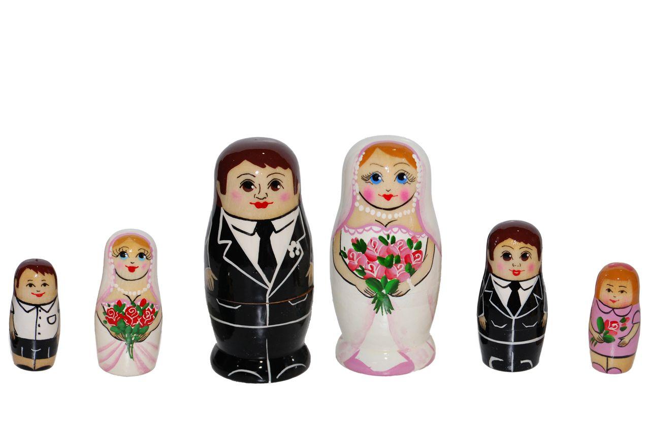 結婚マトリョーシカ「幸せ☆花嫁さん&花婿さんのマトリョーシカ 3個組☆ペア」【マトリョーシカ】