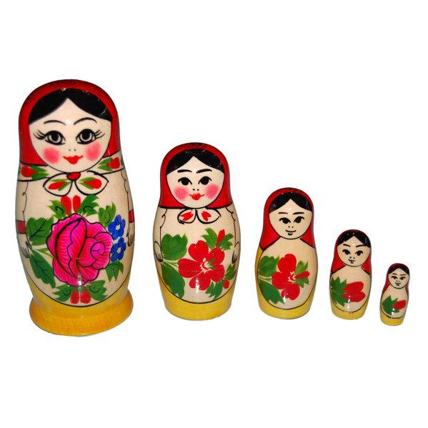 お土産の定番 ロシア伝統柄ロシヤーノチカ5個組 (人気激安) color マトリョーシカ : セール価格 レッド