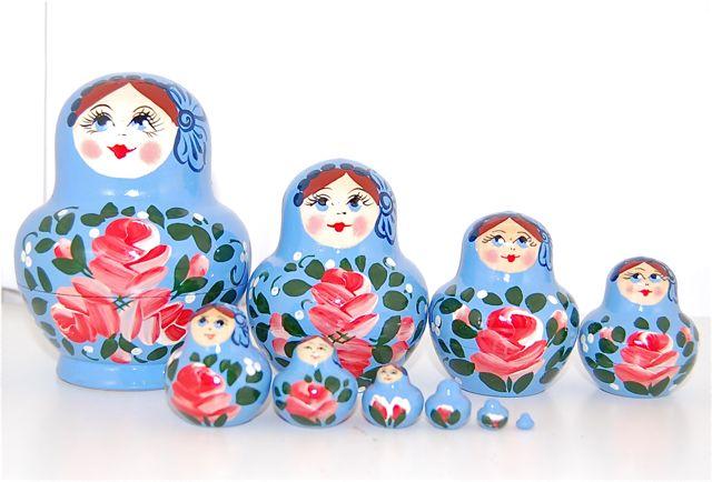 まんまるの仲良し10人姉妹 アウトレット [並行輸入品] まんまるぽってりマトリョーシカ10個組 ライトブルー