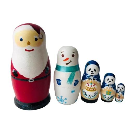 Smile Box スマイルボックス「サンタクロースマトリョーシカ 青系 パンダ」11センチ5個組並べ方を変えれば一年中飾れます~【マトリョーシカ】