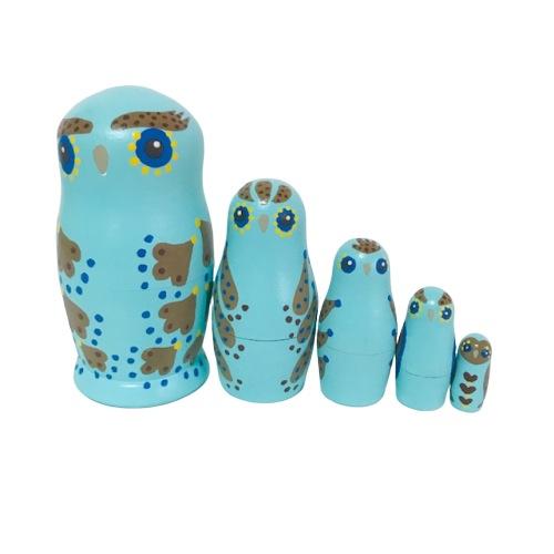 鳥 トリ ふくろう 縁起物 子宝 かわいい 品質保証 ギフト マトリョーシカ にぎやか模様 人形 10%OFF フクロウマトリョシカ Noritama 5個組 ブルー11センチ