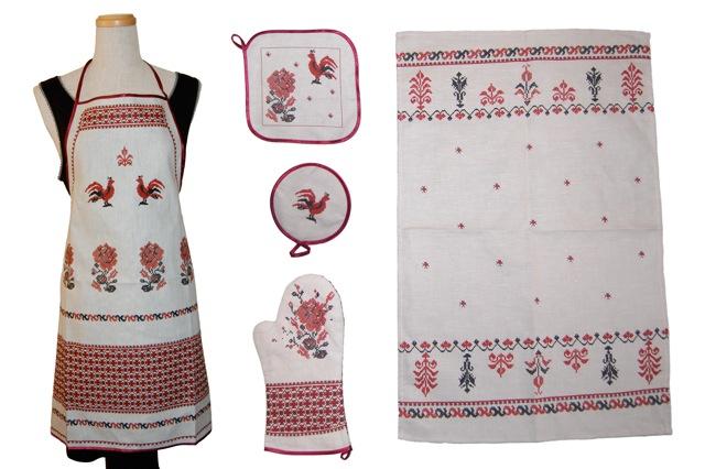 刺繍風プリントが素敵 全品送料無料 キッチン雑貨 フォークロア刺繍柄 卓越 エプロン5点セット