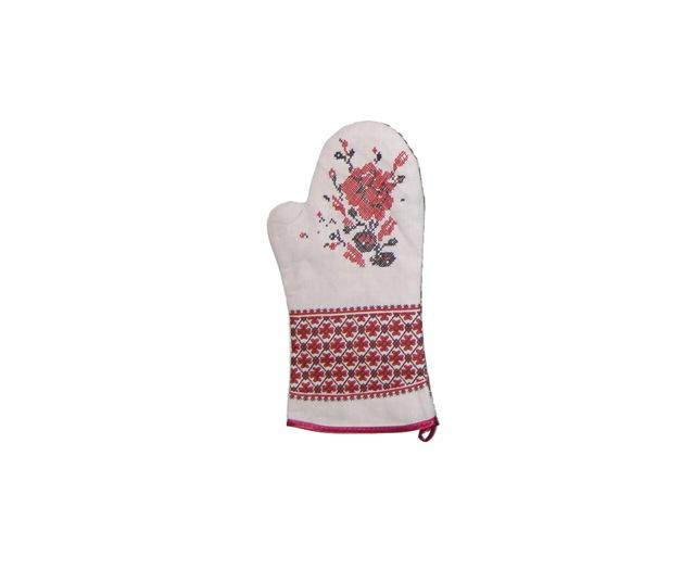 限定特価 プリント柄の刺繍が素敵 リネンミトン フォークロア刺繍柄 NEW ARRIVAL