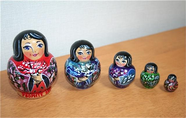 カーチャさんの手作りマトリョーシカ「桜の園の着物少女」(1点限定)まんまるぽってり5個組