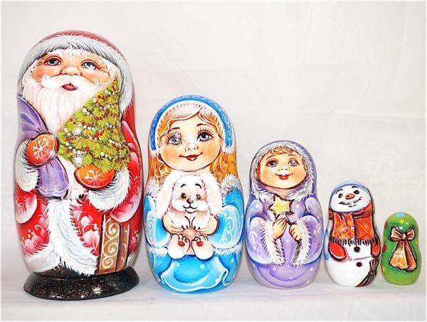 サンタクロース クリスマス プレゼント 人形 縁起物 ロシア 17cm サンタマトリョーシカ マトリョーシカ 5個組 代引き不可 おみやげ デラックス 超目玉