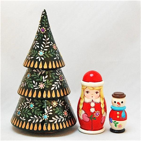 ショコラ工房のマトリョーシカマトリョーシカ型置物シリーズ「Tiny tree(タイニーツリー)」3個組【マトリョーシカ】