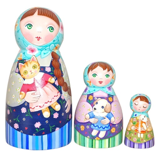 ショコラ工房のマトリョーシカFlower-Patterned Dress Dolls 花柄のドレス(ドールズ)少女たちのマトリョーシカ14cm 3個組 てるてる型 【マトリョーシカ】