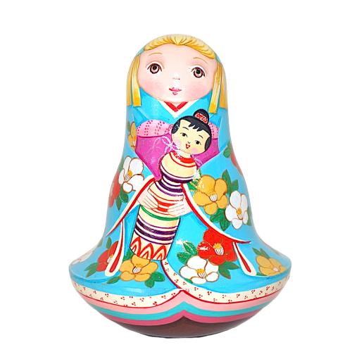 ショコラ工房のマトリョーシカシリーズ起き上がりこぼし大★KOKESHI-TUBAKI(こけし人形・椿)【マトリョーシカ】