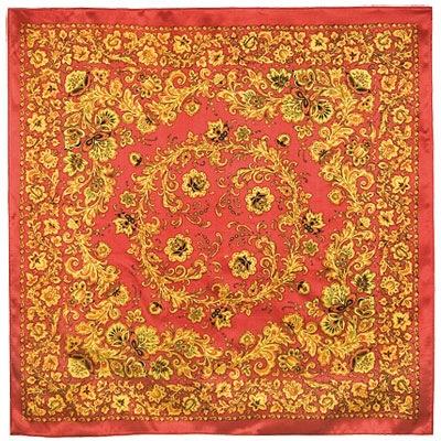 89cm×89cm「ホフロマ」(color:RED) シルクスカーフ