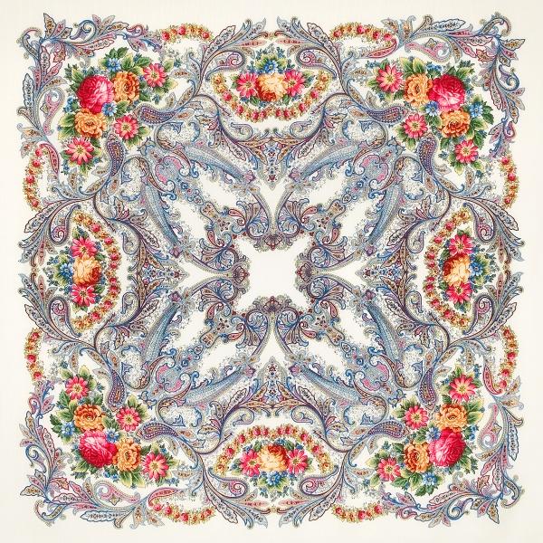 プラトーク(シルクフリンジ)「蝶の夢」ホワイト サイズ:125cm×125cm