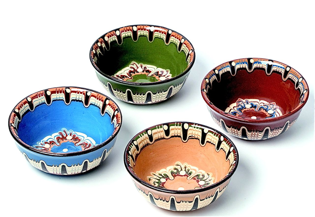 食器 輸入 国内正規品 東欧 人気 マーブル お祝い ギフト ブルガリア工芸 直径12cm 小サイズ 伝統 トロヤンのしずくボウル トロヤン陶器