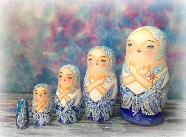 「yucoon art works」マトリョーシカ「白鳥の湖」中5個組11cm【マトリョーシカ】