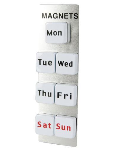 一週間分の曜日ごとのオシャレなマグネットです マグネット オブザウィーク ダルトン DULTON MAGNETS OF THE WEEK マグネット 一週間 お便り お知らせ 書類 貼り付け おしゃれ かわいい ホワイト 白 英語 文字 磁石 曜日 シンプル レトロ 冷蔵庫 黒板 デスク オフィス 文房具 文具 キッチン 雑貨 ギフト メール便