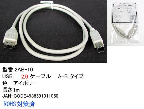 定形外郵便またはメール便で発送 在庫あり Comon カモン 最新アイテム C1-209 誕生日 お祝い A-Bタイプ 送料無料 2AB-10 USB2.0ケーブル 1m