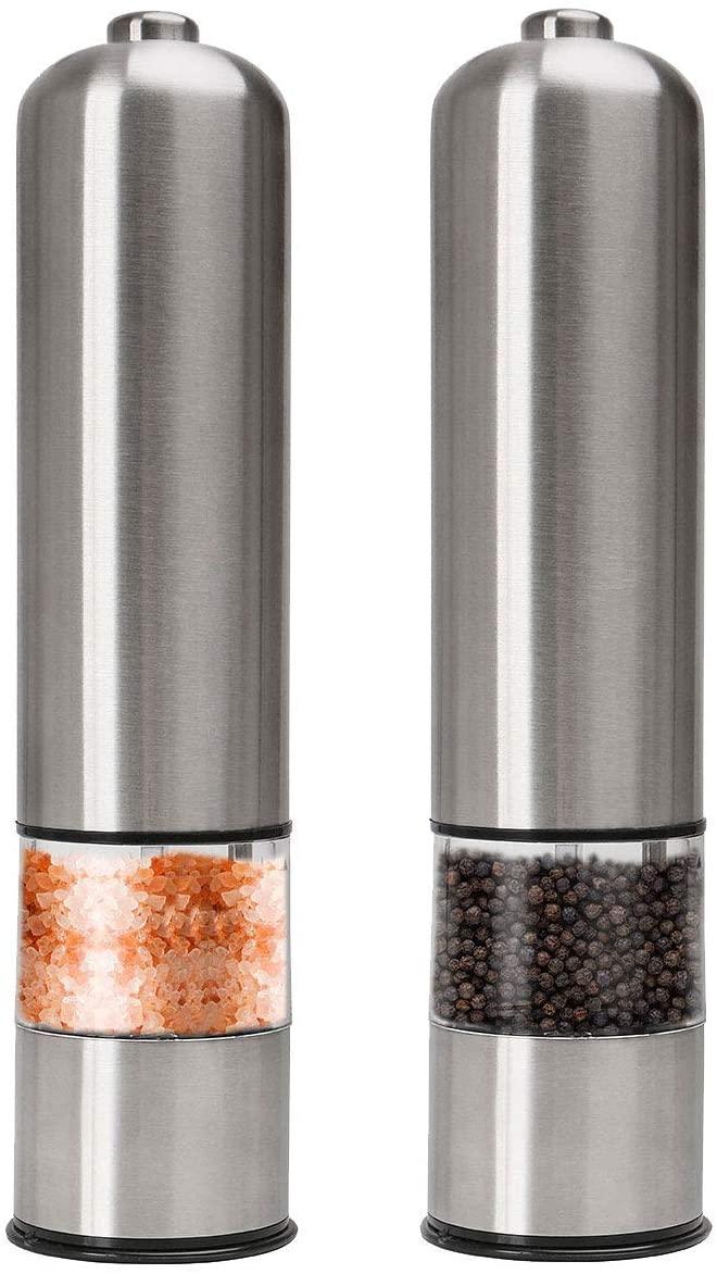 ペッパーミル 電動 胡椒 花椒 岩塩 ソルト 粗さ調節可能 ステンレス 2パック おすすめ 人気の定番 スパイス用
