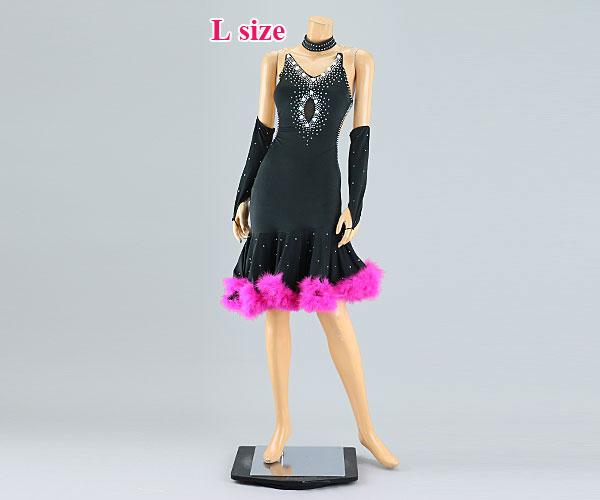 社交ダンス/社交ダンス衣装/衣装/社交ダンスドレス/ドレス/ウェア/ダンスウェア/Lサイズ/ブラック 黒