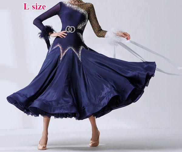社交ダンス/社交ダンス衣装/衣装/社交ダンスドレス/ドレス/ウェア/ダンスウェア/Lサイズ/ネイビー 紺