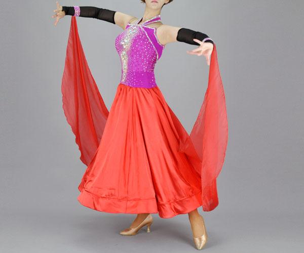 社交ダンス/社交ダンス衣装/衣装/社交ダンスドレス/ドレス/ウェア/ダンスウェア/9号/赤/チェリーピンク