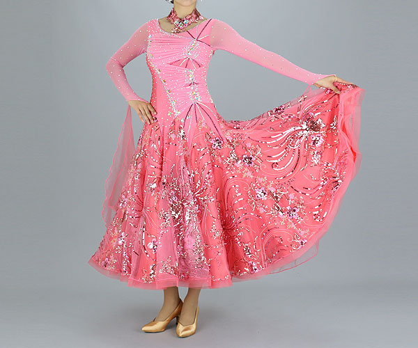 社交ダンス/社交ダンス衣装/衣装/社交ダンスドレス/ドレス/ウェア/ダンスウェア/9号/ピンク