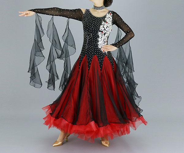 社交ダンス/社交ダンス衣装/衣装/社交ダンスドレス/ドレス/ウェア/ダンスウェア/9号(Mサイズ)/ブラック/レッド