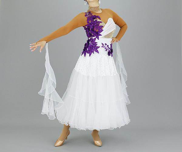 社交ダンス/社交ダンス衣装/衣装/社交ダンスドレス/ドレス/ウェア/ダンスウェア/Mサイズ/ホワイト/パープルモチーフ
