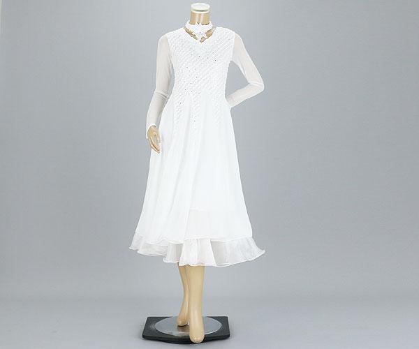 社交ダンス/社交ダンス衣装/衣装/社交ダンスドレス/ドレス/ウェア/ダンスウェア/フリーサイズ/ホワイト 白