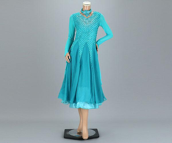 社交ダンス/社交ダンス衣装/衣装/社交ダンスドレス/ドレス/ウェア/ダンスウェア/フリーサイズ/グリーン