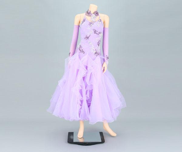 社交ダンス/社交ダンス衣装/衣装/社交ダンスドレス/ドレス/ウェア/ダンスウェア/Mサイズ/ライトパープル