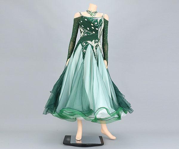 社交ダンス/社交ダンス衣装/衣装/社交ダンスドレス/ドレス/ウェア/ダンスウェア/Mサイズ/モスグリーン