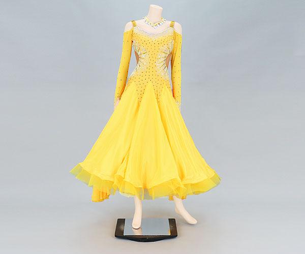 社交ダンス/社交ダンス衣装/衣装/社交ダンスドレス/ドレス/ウェア/ダンスウェア/Mサイズ/イエロー