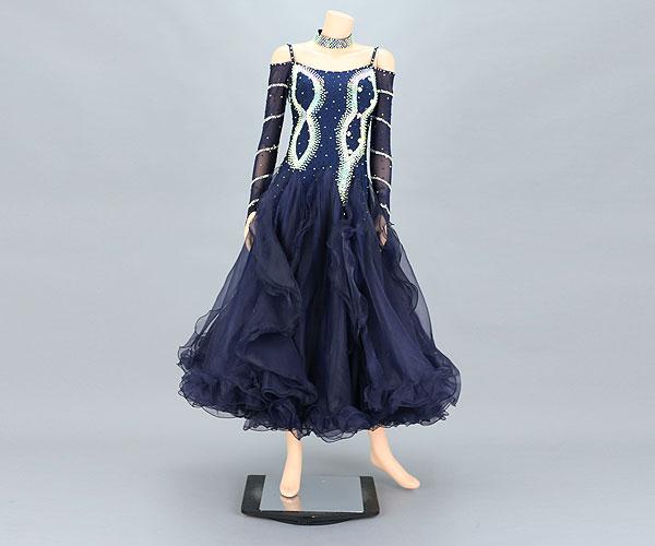 社交ダンス/社交ダンス衣装/衣装/社交ダンスドレス/ドレス/ウェア/ダンスウェア/Mサイズ/紺 ネイビー