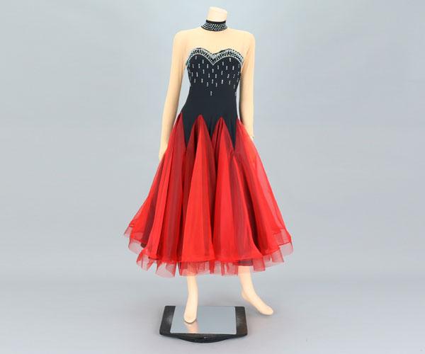 社交ダンス/社交ダンス衣装/衣装/社交ダンスドレス/ドレス/ウェア/ダンスウェア/Mサイズ/ブラック/レッド
