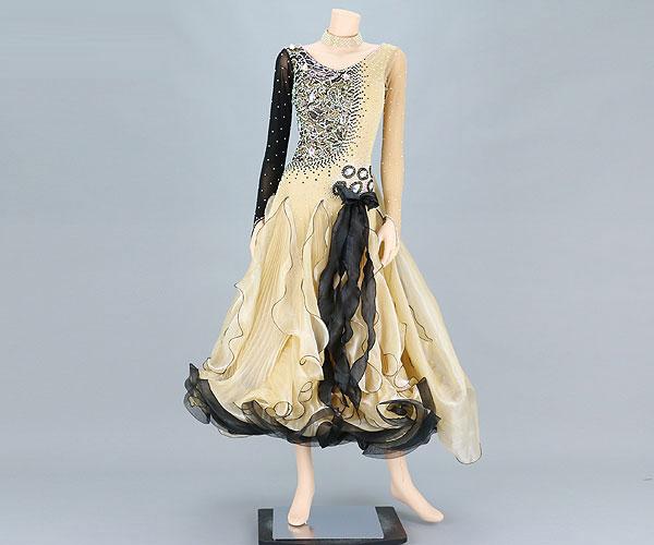 社交ダンス/社交ダンス衣装/衣装/社交ダンスドレス/ドレス/ウェア/ダンスウェア/Mサイズ/ベージュ