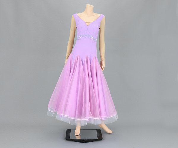 社交ダンス/社交ダンス衣装/衣装/社交ダンスドレス/ドレス/ウェア/ダンスウェア/Mサイズ/ライトパープル 紫