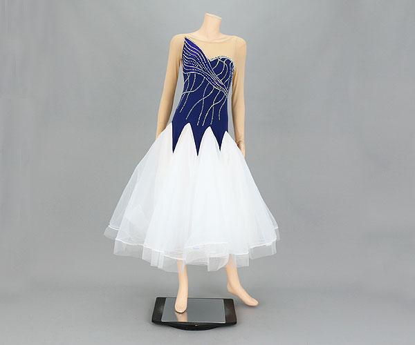 社交ダンス/社交ダンス衣装/衣装/社交ダンスドレス/ドレス/ウェア/ダンスウェア/Mサイズ/ブラック/ネイビー 黒/紺