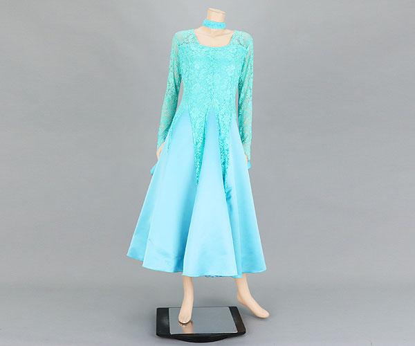 社交ダンス/社交ダンス衣装/衣装/社交ダンスドレス/ドレス/ウェア/ダンスウェア/フリーサイズ/ライトブルー(レース部分はややエメラルドグリーンに近い色味)